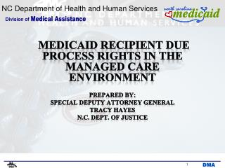 MEDICAID RECIPIENT DUE PROCESS RIGHTS IN THE MANAGED CARE ENVIRONMENT PREPARED by: Special deputy attorney general Tracy