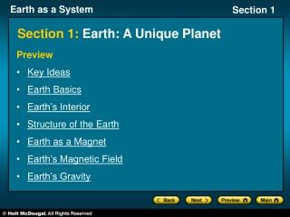 Section 1: Earth: A Unique Planet