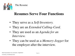 Resumes Serve Four Functions