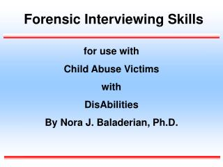Forensic Interviewing Skills