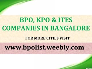 List of BPO companies in Bangalore - BPO List