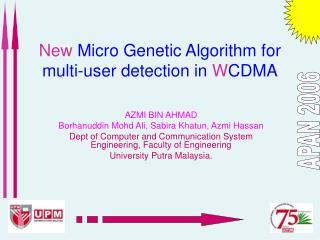 New Micro Genetic Algorithm for multi-user detection in W CDMA