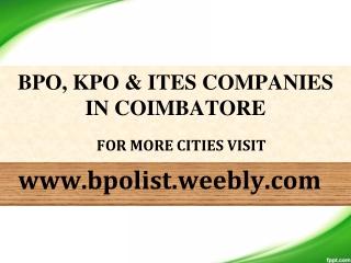 KPO Companies in Coimbatore - BPO List