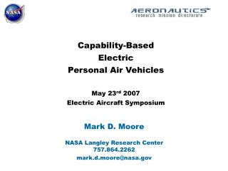 capability-based  electric  personal air vehicles  may 23rd 2007 electric aircraft symposium