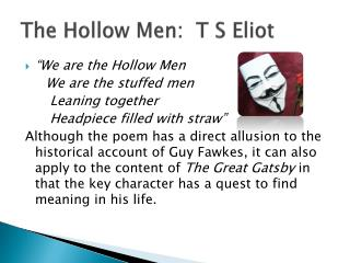 The Hollow Men:  T S Eliot