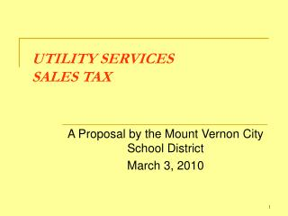UTILITY SERVICES  SALES TAX