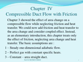 Chapter IV Compressible Duct Flow with Friction
