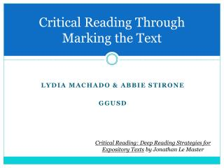 Critical Reading Through  Marking the Text
