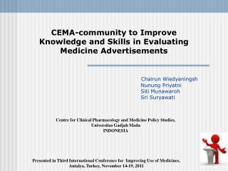 CEMA-community to Improve  Knowledge and Skills in Evaluating  Medicine Advertisements