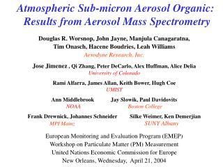 Atmospheric Sub-micron Aerosol Organic: Results from Aerosol Mass Spectrometry