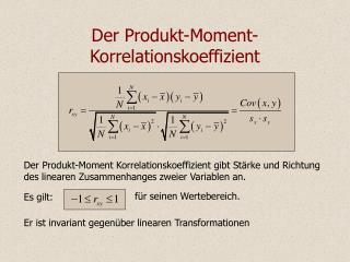 Der Produkt-Moment-Korrelationskoeffizient