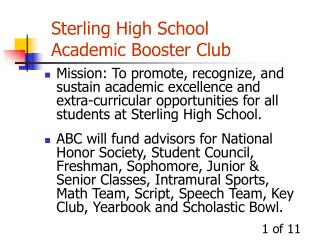 Sterling High School Academic Booster Club