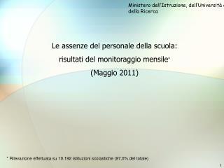Le assenze del personale della scuola: risultati del monitoraggio mensile * (Maggio 2011)