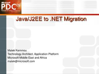 Java/J2EE to .NET Migration