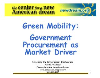Green Mobility: Government Procurement as Market Driver