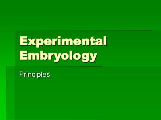 Experimental Embryology