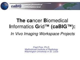 The ca ncer B iomedical I nformatics G rid ™ (caBIG ™ ): In Vivo Imaging Workspace Projects