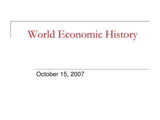 World Economic History