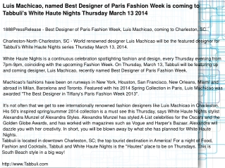 Luis Machicao, named Best Designer of Paris Fashion Week