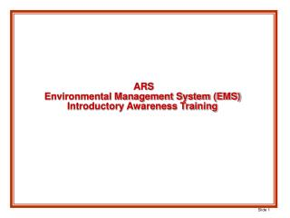 ARS Environmental Management System (EMS) Introductory Awareness Training