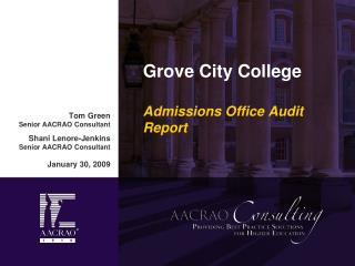 Grove City College Admissions Office Audit Report