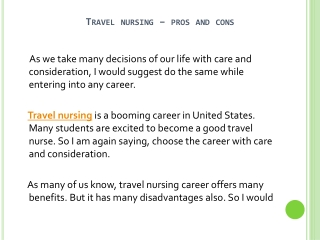 Pros And Cons Of Travel Nursing Career
