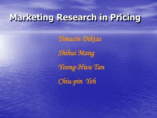 Marketing Research in Pricing