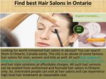 Paradise Hair Salon In Ontario