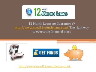12 Month Loans No Guarantor UK