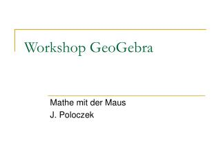 Workshop GeoGebra