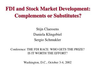FDI and Stock Market Development: Complements or Substitutes?