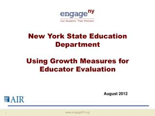 New York State Education Department Using Growth Measures for Educator Evaluation