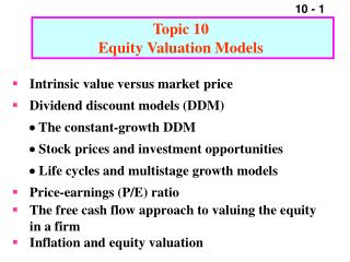 Topic 10  Equity Valuation Models