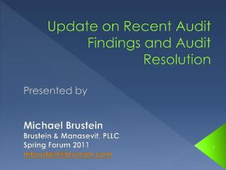 Update on Recent Audit Findings and Audit Resolution