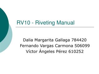 RV10 - Riveting Manual