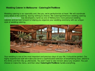 Wedding Caterer in Melbourne - CateringOnTheMove