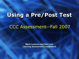 Using a Pre/Post Test