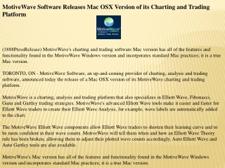 motivewave software releases mac osx version of its charting