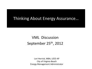 Thinking About Energy Assurance…
