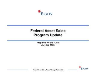 Federal Asset Sales  Program Update