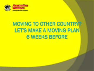 Moving Checklist Presentation Australia