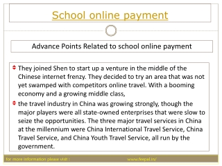 Some information requiring to school online payment