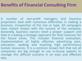 Benefits of Financial Consulting Firm