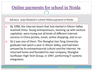some information of online payment for school in Noida