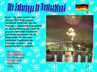 Die Feiertage in Deutschland