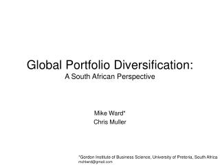 Global Portfolio Diversification: A South African Perspective