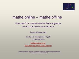 mathe online – mathe offline