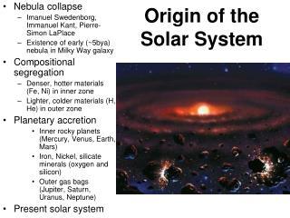 Origin of the Solar System
