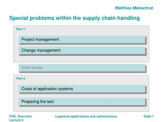 Special problems within the supply chain handling