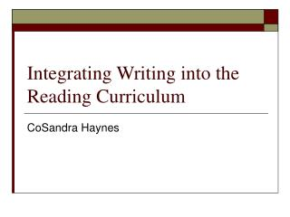 Integrating Writing into the Reading Curriculum